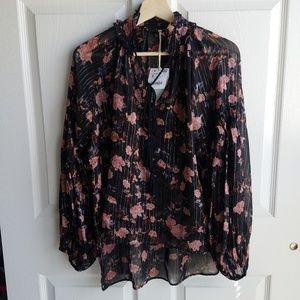NWT Zara Metallic Floral Lurex Blouse Size Small